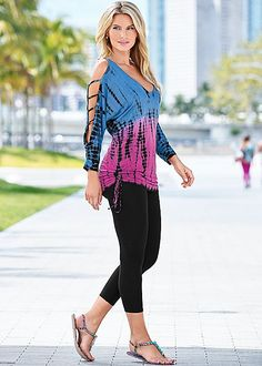 Take your tie dye look to the next level! Venus tie dye cut out sleeve top with basic capri legging.