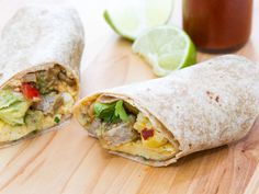 Breakfast Burritos : Cheesy scrambled eggs, savory sausage and a cool avocado-studded salsa come together in a warm tortilla to create a fill-you-up morning meal.