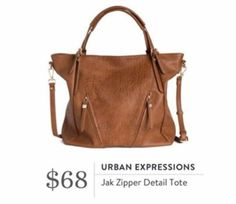 Stitch Fix October 2016 - Urban Expressions, Jak Zipper Detail Tote, fall purse bag satchel brown tan camel