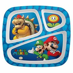 Sometimes peas and carrots just don't go together – this divided plate keeps foods separate, with help from the Super Mario Brothers! This durable melamine plate is 8 inches long and 8.75 inches wide with three sections of different sizes, perfect for a main dish, vegetables, and... - http://kitchen-dining.bestselleroutlet.net/product-review-for-super-mario-brothers-divided-plates-for-kids-plastic-sectioned-dinner-plate-by-zak/
