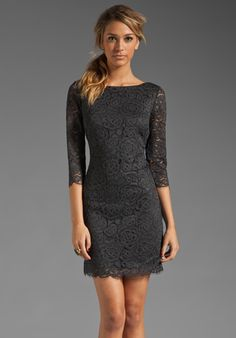 TRINA TURK Lace Geddes Dress in Charcoal
