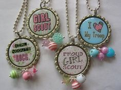 GIRL SCOUT Bottle Cap NecklacePRICE is for one pendant by emtabby, $7.00