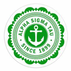 """Alpha Sigma Tau 5"""" Sorority Seal Bumper Sticker"""