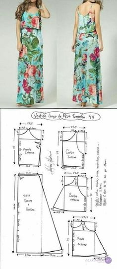 Long Dress Patterns Sewing Diy Ideas For 2019 Long Dress Patterns, Dress Sewing Patterns, Clothing Patterns, Skirt Patterns, Blouse Patterns, Fashion Sewing, Diy Fashion, Ideias Fashion, Sewing Clothes