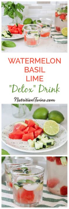 "Watermelon Cucumber Basil ""Detox"" Drink 