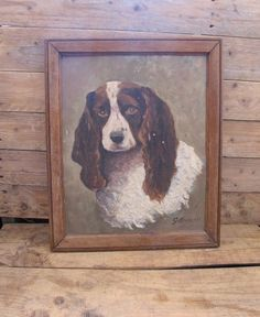 Vintage French Dog Oil painting signed mid century by MaisonW