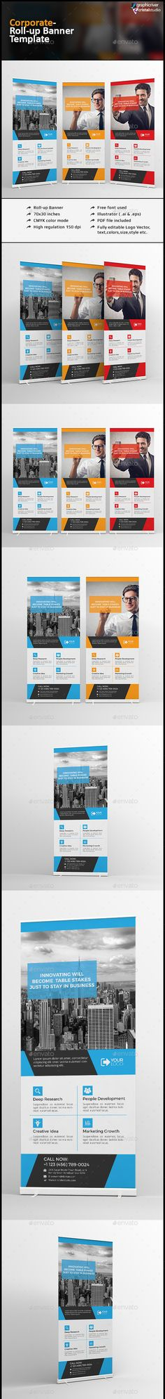 Corporate Roll-up Banner Template EPS, AI #design Download: http://graphicriver.net/item/corporate-rollup-banner/13281493?ref=ksioks