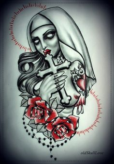 Nun tattoo design by on for Zombie tattoo machine
