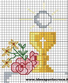 Cross Stitching, Cross Stitch Embroidery, Embroidery Patterns, Religious Cross Stitch Patterns, Catholic Crafts, Easter Cross, Mini Cross Stitch, First Communion, Pixel Art