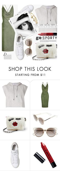 """Sporty Chic"" by chiclookdujour ❤ liked on Polyvore featuring adidas, Topshop, Betsey Johnson, Christian Dior, GALA, Anja, Chanel, Barry M, Gorjana and sportystyle"