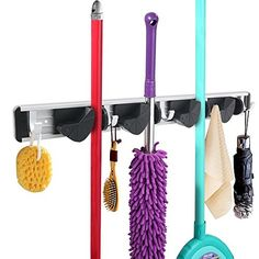 Ecofriendly Aluminum 4Position Flexible Mop and Broom Holder Wall Mount w 5 Retractable Hooks >>> Click image for more details.