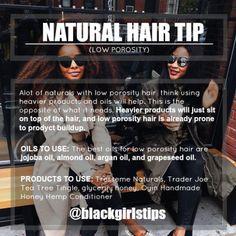 "tickinganalogclocks: ""blackgirlstips: ""Tips for Low Porosity Hair "" THAAAAAANK YOU """