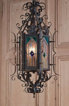 Antique Gothic Wrought Iron & Stained Glass Lantern | Antique Lighting | www.inessa.com