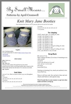 Knitted Mary Jane booties Baby Knitting Patterns Free Newborn, Baby Booties Knitting Pattern, Baby Shoes Pattern, Knit Baby Booties, Baby Hats Knitting, Vintage Knitting, Knitting For Kids, Loom Knitting, Knitting Ideas