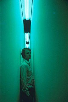 """ Bruce Nauman - ""Green Light Corridor"" 1970 After passing through the corridor, the world turns a bright magenta. """