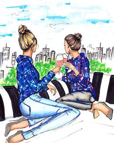 Rooftops and Rosé by Melsys on Etsy