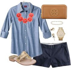 """Chambray"" by classically-preppy on Polyvore (ok, not such short shorts, though)"