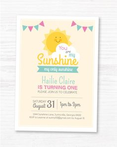 You Are My Sunshine Invite, Customized Sunshine Birthday DIY Party Invitation by MayDetails by maydetails on Etsy https://www.etsy.com/listing/215809387/you-are-my-sunshine-invite-customized
