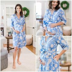 4bc2f3deb3ada Zoe Blue Floral Maternity Delivery Labor Nursing Robe By Baby Be Mine  Maternity-Hospital Bag