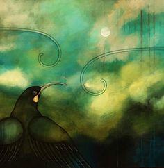 'Huia's Moondance Dream' is a limited edition print by acrylic artist Kathryn Furniss. Reproduced from an original acrylic on canvas art work the piece is limit Art Maori, New Zealand Art, Nz Art, Dream Art, Contemporary Artwork, Bedroom Art, Painting Inspiration, Design Inspiration, Bird Art