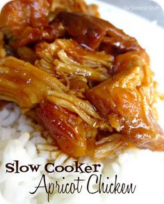 Slow Cooker Apricot Chicken | Six Sisters' Stuff Used VH sweet and sour dipping sauce and fresh apricots and canned pineapple.