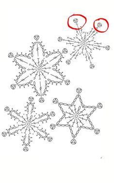 Crochet Patterns Christmas Crochet snowflakes on my Christmas tree. Crochet Snowflake Pattern, Crochet Stars, Crochet Motifs, Christmas Crochet Patterns, Crochet Snowflakes, Crochet Diagram, Filet Crochet, Crochet Doilies, Crochet Flowers