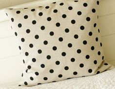 Black Polka Dot Pillow cover  Natural by larksongcreations on Etsy, $22.00