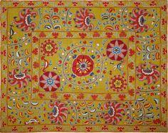 "Antique Central Asian Suzani. Silk Embroidery on Cotton Circa 1880 Size 53"" x 41"" Size 135 x 104 cm"