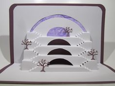 Home Decor Origamic Architecture Centerpiece Original Artistic Design of White Stairs to Success on Purple OOAK Signed by the Artist Success Wishes, White Stairs, Everyday Objects, Bar Mitzvah, Three Dimensional, Shadow Box, Original Art, Centerpieces, Art Pieces