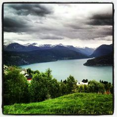 View over Nordfjorden and.the.church on Nordsida, Stryn, Nordfjord, Norway.
