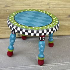 Create this project with Americana Decor® Chalky Finish — Use fun patterns and bold designs to add character and whimsey to a child-sized stool. Whimsical Painted Furniture, Hand Painted Chairs, Hand Painted Furniture, Funky Furniture, Paint Furniture, Furniture Projects, Kids Furniture, Furniture Makeover, Upcycled Furniture