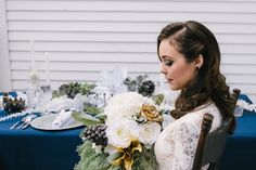 Www.clevents.ca #chantillylaceevents #winterbride #winterbouquet #uniquebouquet #silkflowers #greenery #wintertable #navy #white