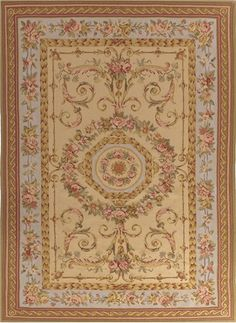 Adorn a room with a gold, pink & green ornate French aubusson rug| 5019BG| Asmarainc.com-Ships Free
