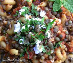 Koshari {Egyptian chili - healthy and really good!} - 1 cup dried brown lentils, 1 cup macaroni, 1 cup garbanzo beans, 2 cups brown rice, 1 Tbsp. cumin, 1/4 tsp. cayenne, 1 can diced tomatoes, 2 Tbsp. lime juice, 2 Tbsp. balsamic vinegar, minced garlic, cilantro, feta