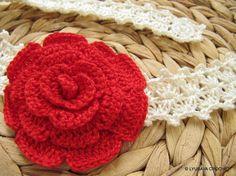 Lovely #Rose #Flower #Headband #pattern on #etsy #crochet patterns