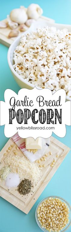 A warm, delicious, garlicky treat. This garlic bread popcorn is so easy and perfect for a fall movie night!