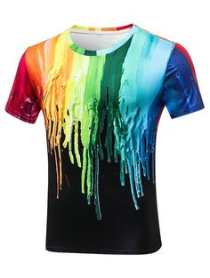 Paint Dripping Crew Neck Tee - COLORMIX 3XL