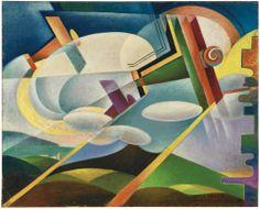 Giulio D'Anna 1908-1978 AEREI CAPRONI SUL VULCANO SIGNED AND DATED 1929, OIL ON CANVAS firmato e datato 1929 olio su tela cm 60x74