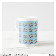 Ladybug and Flowers Bone China Tea Cup