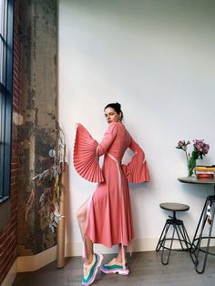 Pink midi summer dress with pleated flare sleeves. Thrift Store Hauls, A Study In Pink, Iron Shirt, Nice Tops, Album Covers, Thrifting, Nice Dresses, Wrap Dress, How Are You Feeling