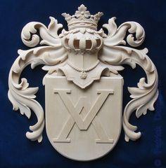 Escudo de armas familiar, tallado a mano | Escudo de armas en madera tallada…