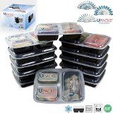#5: Upacke Meal Prep 12-sets 3-Compartment Food Containers with Lids for Portion Control Stackable  Leak Proof Haven Microwave Dishwasher Safe Reusable Bento Lunch Box with Bonus 36 set Cutleries and Recipe eBooks.