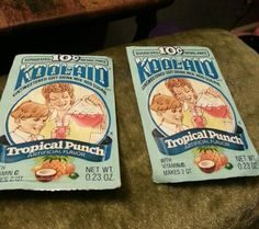 Rare 2 VINTAGE KOOL AID DRINK MIX UNOPENED PACKETS PACKAGES TROPICAL PUNCH last