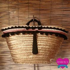 CapazoJerez by RosanaMoltoCapazos on Etsy Supernatural Style Black Strawberry, Diy Sac, Diy Clutch, Boho Bags, Basket Bag, Summer Bags, Homemade Gifts, Fashion Bags, Straw Bag