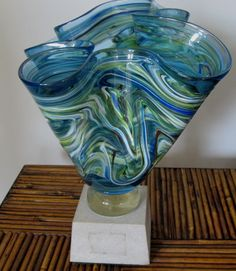 Blown Art Glass Green Blue Swirled Handkerchief Vase Venetian? Mounted on Block