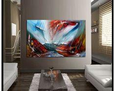 Moderno abstracto lona 100% pintado a mano arte por largeartwork