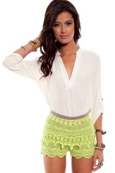 d07f856763b8 Taking It Easy Top in Off White    tobi Crochet Shorts