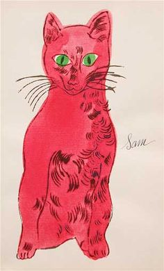 {25-Cats-Named-Sam...(Red-with-Green-Eyes) by Andy Warhol, 1954}