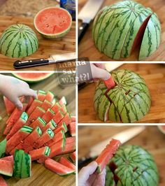 Cutting a Watermelon for little fingers