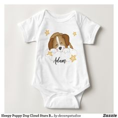 Sleepy Puppy Dog Cloud Stars Baby Kids Name Baby Bodysuit